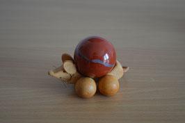 Holz-Rolltier Maus gross mit Edelstein-Kugel Jaspis, rot 4 cm