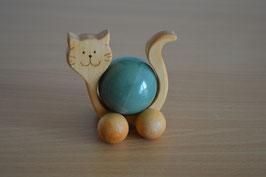 Holz-Rolltier Katze gross mit Edelstein-Kugel Aventurin 4 cm