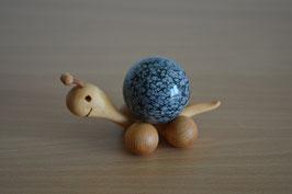 Holz-Rolltier Schnecke gross mit Edelstein-Kugel Schneeflocken-Obsidian 4 cm