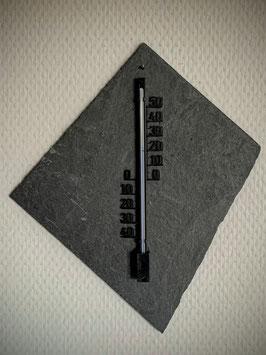 Thermometer auf Schieferplatte, Kunststoff, 16 cm, schwarz - 7