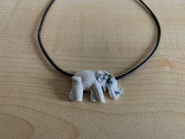 Magnesit-Elefant-Anhänger, gebohrt