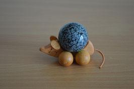 Holz-Rolltier Maus gross mit Edelstein-Kugel Schneeflocken-Obsidian 4 cm