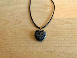 Schneeflocken-Obsidian-Herz-Anhänger 2 x 2 x 0,6 cm, mit Öse