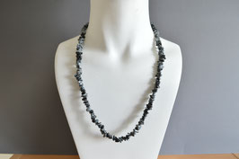Schneeflocken-Obsidian-Edelstein-Kette (Splitter), lang