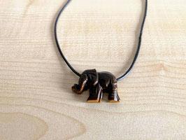 Tigerauge-Elefant-Anhänger, gebohrt