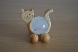 Holz-Rolltier Katze gross mit Edelstein-Kugel Bergkristall 4 cm