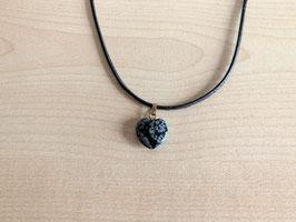 Schneeflocken-Obsidian-Herz-Anhänger 1,5 x 1,5 x 0,4 cm, mit Öse