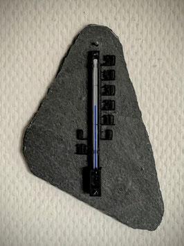 Thermometer auf Schieferplatte, Kunststoff, 10 cm, schwarz - 4