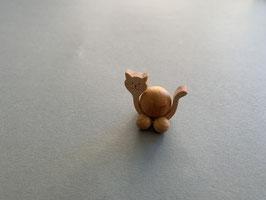 Holz-Rolltier Katze klein mit Holz-Kugel 2 cm