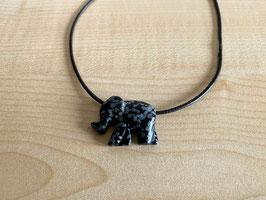 Schneeflocken-Obsidian-Elefant-Anhänger, gebohrt