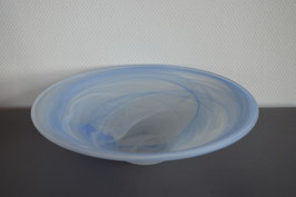 Glasschale 35  cm, blau/weiss