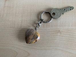 Landschafts-Jaspis-Herz-Schlüsselanhänger
