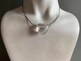 Bergkristall-Herz an Stahlreif - 9