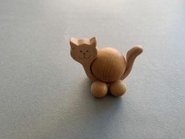 Holz-Rolltier Katze mittel mit Holz-Kugel 3 cm