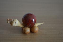 Holz-Rolltier Schnecke gross mit Edelstein-Kugel Jaspis, rot 4 cm