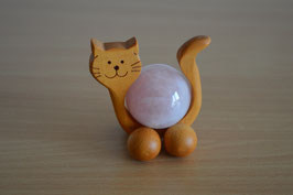 Holz-Rolltier Katze gross mit Edelstein-Kugel Rosenquarz 4 cm