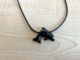 Schneeflocken-Obsidian-Delfin-Anhänger, gebohrt