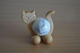 Holz-Rolltier Katze gross mit Edelstein-Kugel Magnesit 4 cm