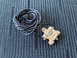 Landschafts-Jaspis-Schildkröte-Anhänger, gebohrt, mit Lederband