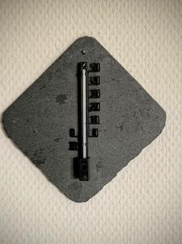 Thermometer auf Schieferplatte, Kunststoff, 10 cm, schwarz - 5