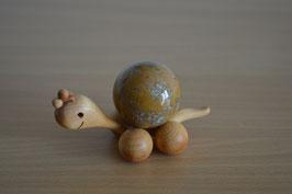 Holz-Rolltier Schnecke gross mit Edelstein-Kugel Ozeanjaspis 4 cm