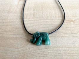 Aventurin-Elefant-Anhänger, gebohrt