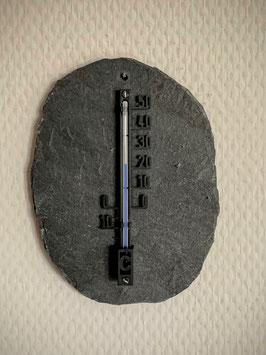 Thermometer auf Schieferplatte, Kunststoff, 10 cm, schwarz - 6