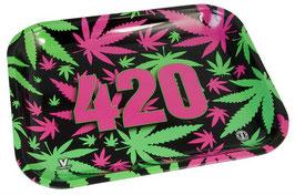 "Dreh-Tablett-Rolling Tray, groß, ""420 vibrant (pink-grün)"""
