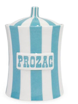 Prozac Canister Light Blue and White