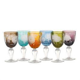 Wine Glass Peony Multicolor set 6