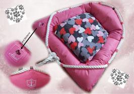 """Hundebett """"pink mit Stickereien"""", Gr. S"""