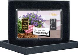 Alles Liebe zum Muttertag mit einem Goldbarren ab 0,50 g und einem Silberbarren ab 1 g -Herz und Lavendel- M1GS