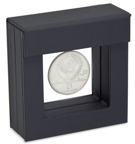 Schweberahmen zur Ausstellung von Münzen oder Barren, Farbe schwarz