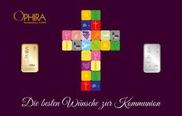 Die besten Wünsche zur Kommunion mit einem Goldbarren und einem Silberbarren-Kreuz lila-  M3GS