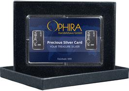Ophira Geschenkkarte mit zwei Silberbarren ab je 1 - 10 Gramm