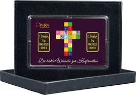 Die bsten Wünsche zur Konfirmation mit zwei Goldbarren ab 0,5 g -Kreuz lila- M3G2