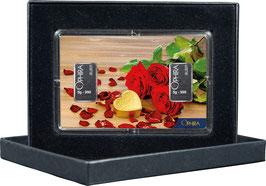 Rosen und Herz mit zwei Silberbarren ab 1 Gramm M5S2