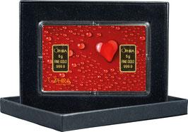 Herz aus Wassertropfen mit zwei Goldbarren ab 0,50 Gramm M2G2
