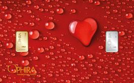 Herz aus Wassertropfen mit einem Gold- und einem Silberbarren