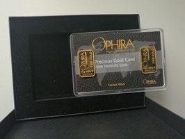 Ophira Geschenkkarte mit zweimal 10  g Goldbarren und Aufbewahrungsbox
