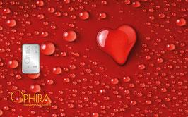 Herz aus Wassertropfen mit einem Silberbarren ab einem Gramm