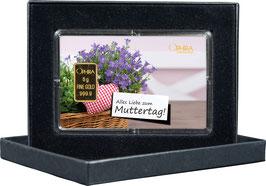 Alles Liebe zum Muttertag mit einem Goldbarren ab 0,50 Gramm -Herz mit Lavendel- M1G1