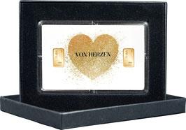 Von Herzen mit zwei Goldbarren ab 0,50 Gramm M7G2