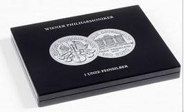 MÜNZKASSETTE FÜR 20 WIENER PHILHARMONIKER-SILBERUNZEN IN KAPSELN, SCHWARZ