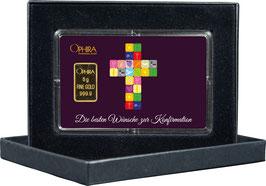 Die besten Wünsche zur Konfirmation mit Goldbarren ab 0,5 Gramm -Kreuz lila- M3G1