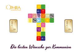 Die besten Wünsche zur  Kommunion mit zwei Goldbarren ab 0,1 Gramm -Kreuz weiß- M4G2