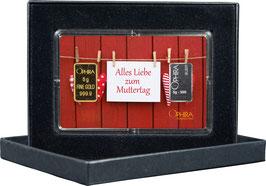 Alles Liebe zum Muttertag mit einem Goldbarren ab 0,50 g und einem Silberbarren ab 1 g -Herzen am Zaun- M2GS