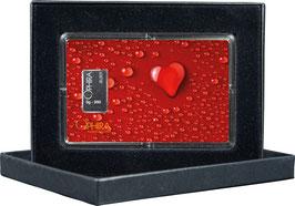 Herz aus Wassertropfen mit einem Silberbarren ab einem Gramm M2S1