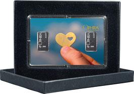 Herz im Herz mit zwei Silberbarren ab 1 Gramm M6S2