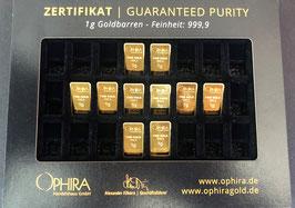 10 OPHIRA Goldbarren zu je 1 g